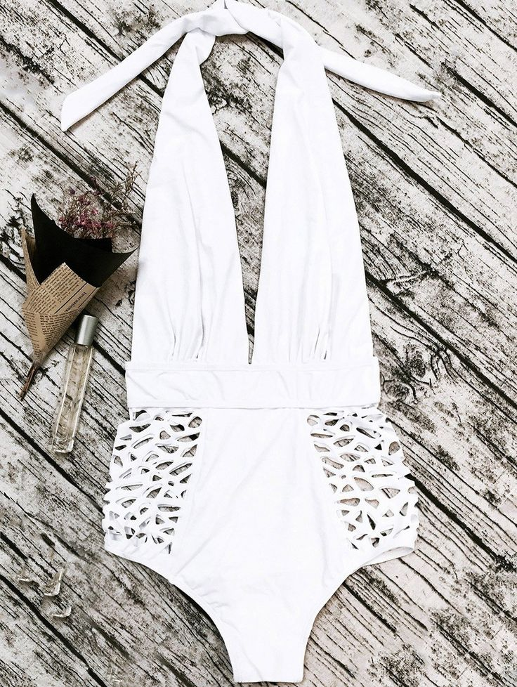 High Waisted Plunge Neck Hollow Out Tummy Control Swimsuit - WHITE M