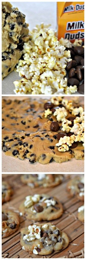 THE PERECT MOVIE NIGHT CHOCOLATE CHIP COOKIE…WITH POPCORN & MILK DUDS BAKED IN!!!!!