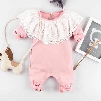 Baby Girl's Charming Lace Collar Long-Sleeve Bodysuit