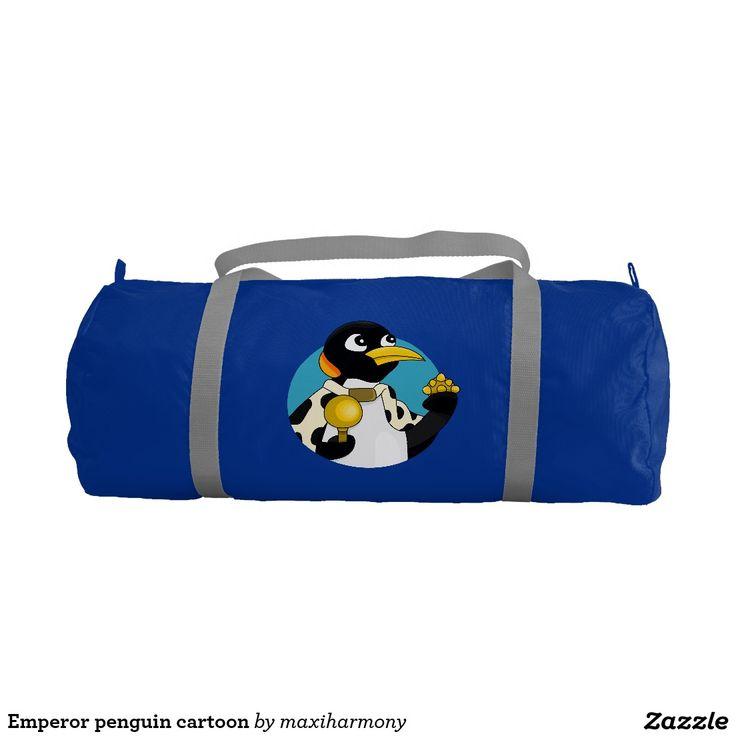 Emperor penguin cartoon gym duffel bag