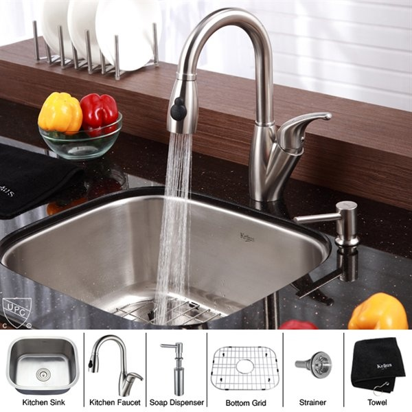 Kraus KBU11 KPF2121 SD20 Single Bowl Combo Kitchen Sink And Faucet Set,  Stainless