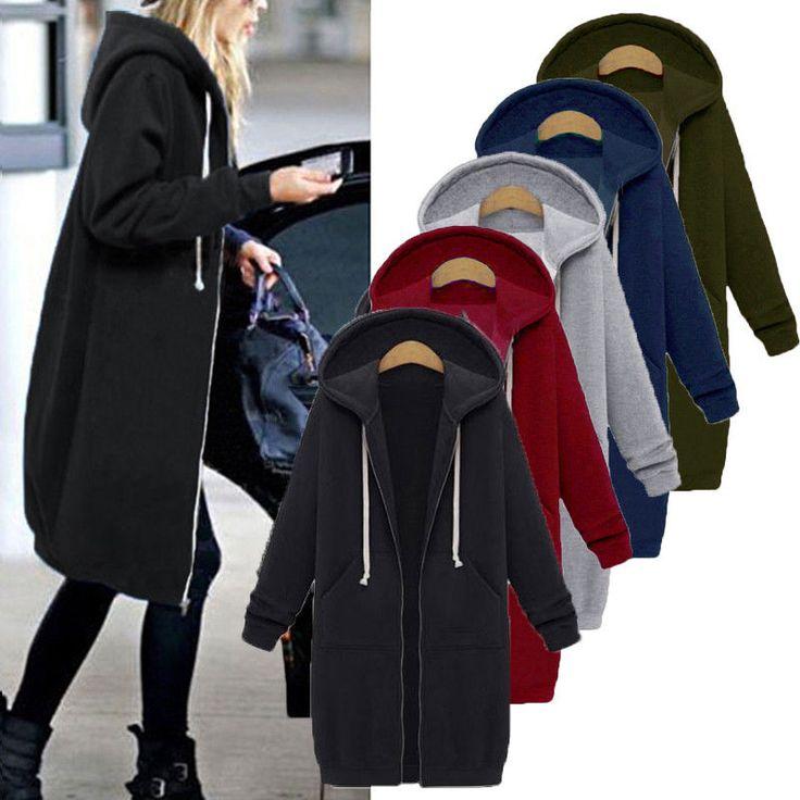 Women Warm Zipper Open Hoodies Sweatshirt Lady Long Coat Jacket Tops Outwear Yf