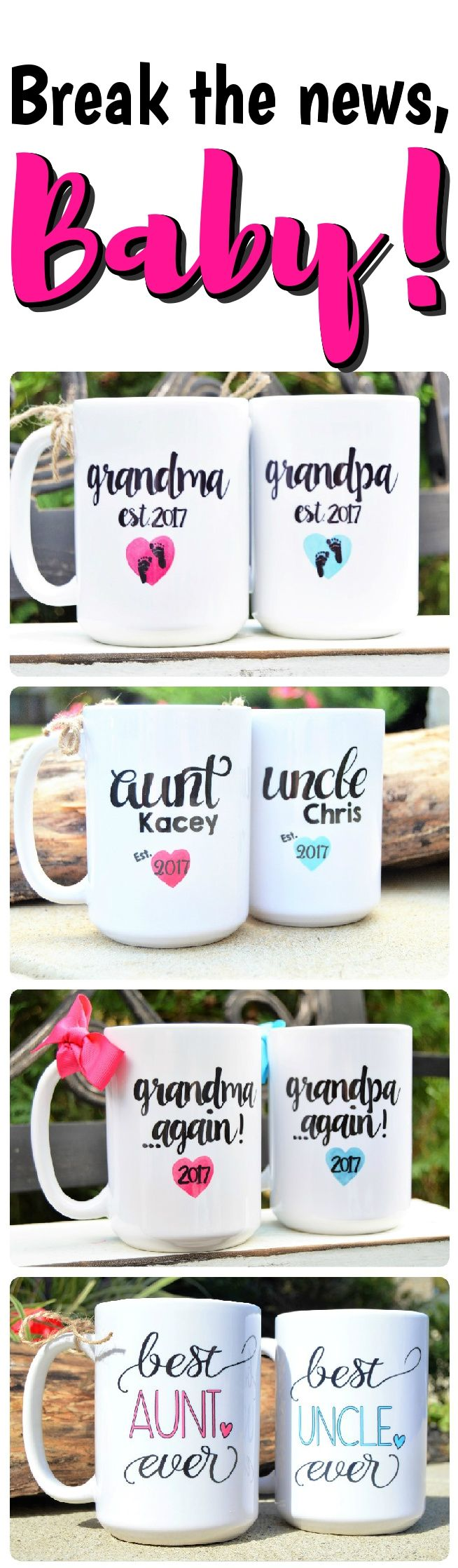 These roomy mugs,(which can be completely personalized by you!) are a perfect way to share the upcoming or recent arrival of a new baby! Watch the faces of your loved ones light the room as they notice the delightful details of these memorable coffee mugs. Made of sturdy glazed stoneware, they will remain a sweet reminder of an unforgettable little one. Customized with the names, dates & designs of your choice! Find inspiration for YOUR celebration at Baby Cake Lane on Etsy!