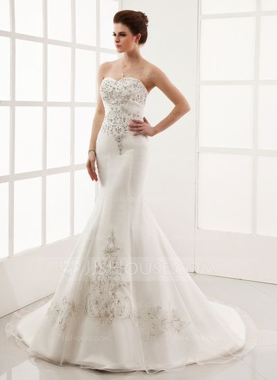Wedding Dresses - $250.49 - Trumpet/Mermaid Sweetheart Chapel Train Organza Satin Wedding Dress With Embroidered Beading (002000554) http://jjshouse.com/Trumpet-Mermaid-Sweetheart-Chapel-Train-Organza-Satin-Wedding-Dress-With-Embroidered-Beading-002000554-g554?snsref=pt&utm_content=pt