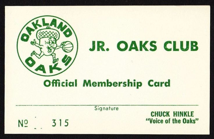 """Oakland Oaks ABA """"Jr. Oaks Club"""" membership card"""