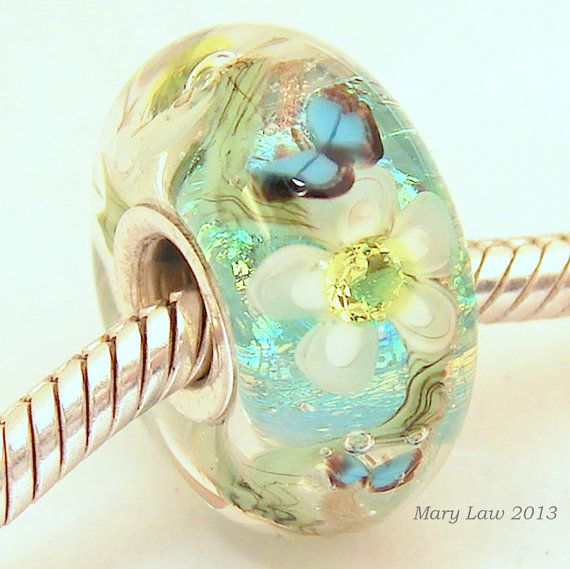 Storybook Garden Dichroic Bead for Pandora, Troll Bracelet ML SRA Lampwork Murano Glass. $48.00, via Etsy.
