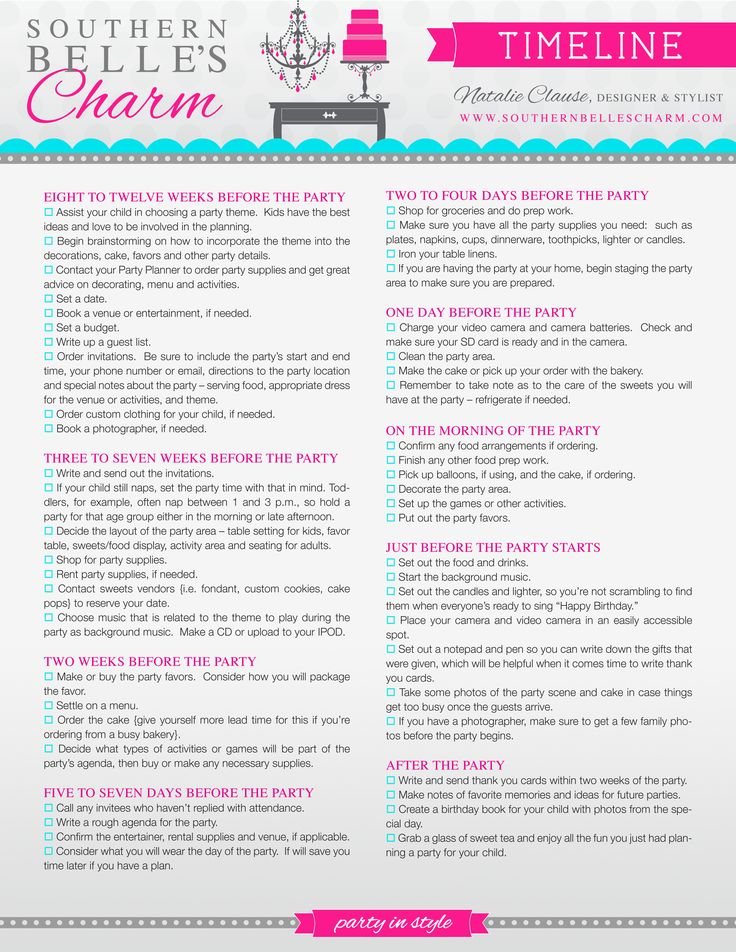 Best 25+ Party checklist ideas only on Pinterest | Birthday party ...
