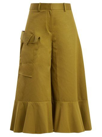 Ruffled-hem cotton culottes