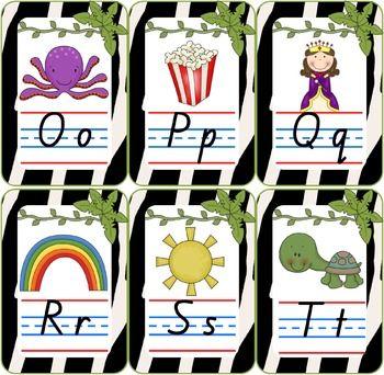 Jungle Theme Alphabet Chart QLD Beginners Font