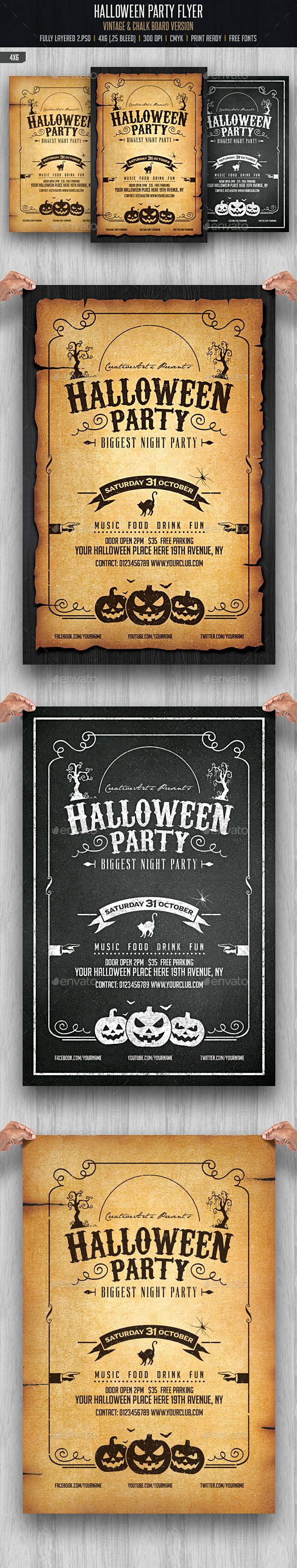 Halloween Party Flyer Tempalte #design #printtemplate Download: http://graphicriver.net/item/halloween-party-flyer-template/12873806?ref=ksioks
