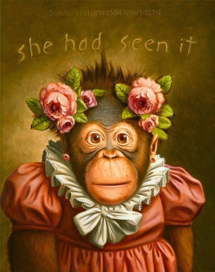 Женщина и обезьяна открытка
