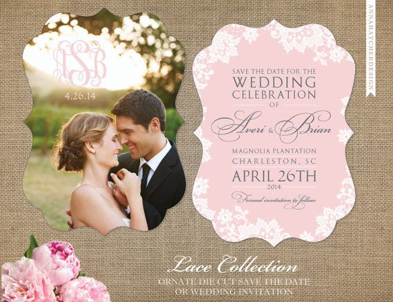 Blush and Gray with Lace Save the Date - Photo Save the Date or Wedding Invitation - Matching Ornate Die Cut Return Address Stickers and/or Enclosure/Accommodations Card Available - FREE SHIPPING in 2 Days