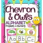 Owls and Chevron Alphabet Posters and Bunting