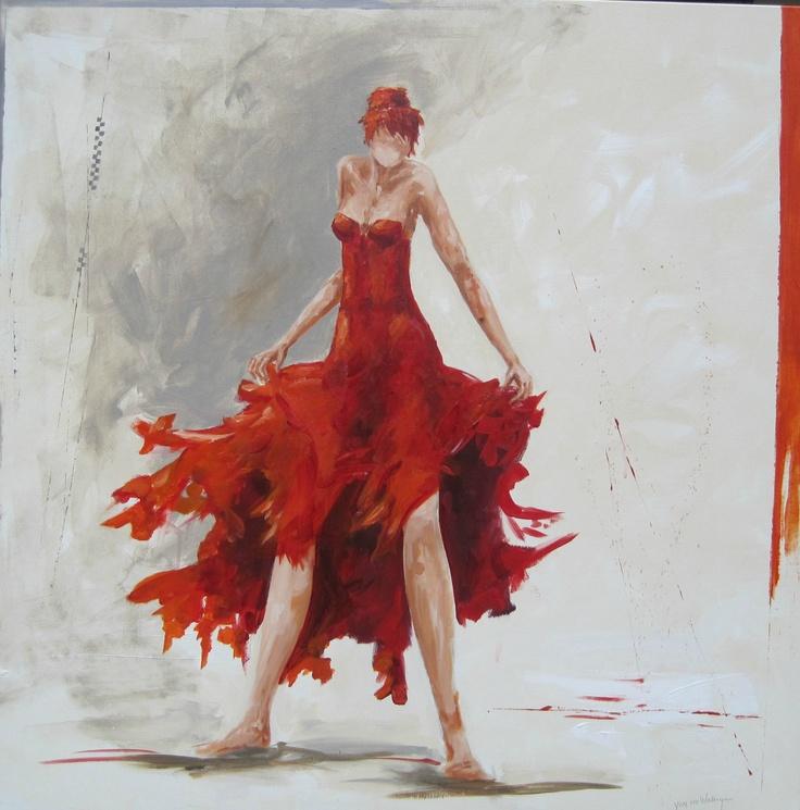 Schilderij, kleur wit, grijs, rood. Staande vrouw, zwierig, gemengde techniek, 100x120 3-d doek
