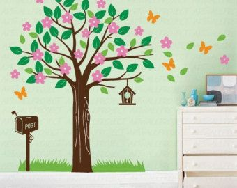 Wall Art Vinyl Decal Sticker Home Kids - Tree series -  R Leaves, Flowers, Postbox, Butterflies, Grass, Birdshouse - Tree wall decal