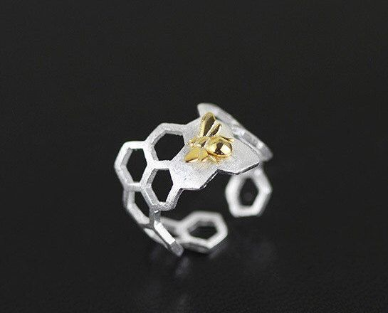 Honeycomb Shape Open Ring,Honeybee Charm Sterling Silver Open Ring Gold-filled Open Ring Adjustable Ring,gift for women,gift for mother by Yujintang on Etsy https://www.etsy.com/listing/501601226/honeycomb-shape-open-ringhoneybee-charm