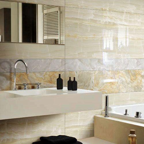 Porcel-Thin marble effect polished porcelain CLACIER CREAM GLACIER MOCHA & CLOUD GREY 1200 x 600mm tiles in a luxurious bathroom. #marbleeffecttiles