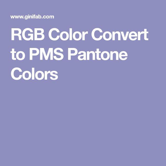 RGB Color Convert to PMS Pantone Colors