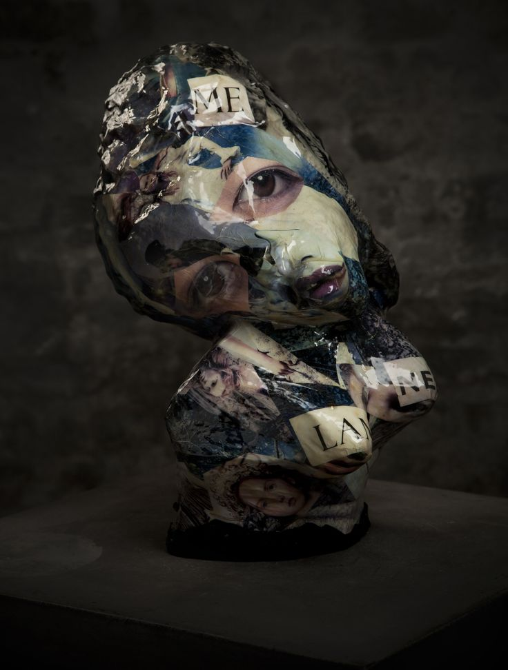 Me, Lan And NEL - ceramic with collage