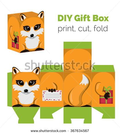 898 best templates boxes containers images on pinterest gift adorable do it yourself fox gift box with ears for sweets candies small presents print it on thick paper cut out fold according to the lines solutioingenieria Images