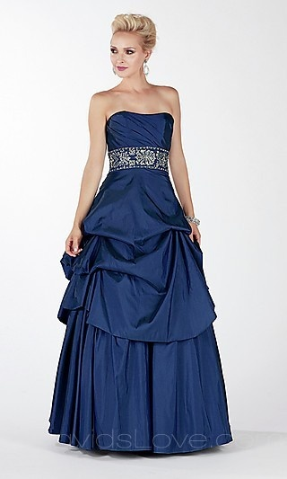 Princess Strapless Long Elastic woven satin Prom Dress