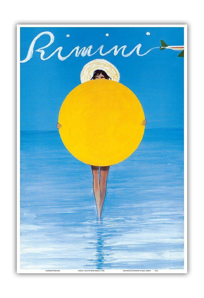 30€ Rimini, Italie - Fille italienne avec parasol - Affiche ancienne vintage tourisme voyage du monde mondial Poster by René Gruau c.1990 - Reproduction Professionelle d'art Master Art Print - 33cm in x 48cm: Amazon.fr: Cuisine & Maison