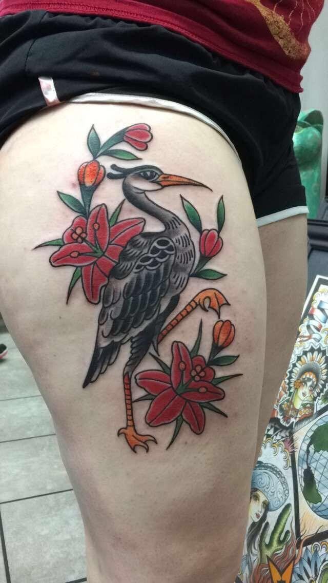 Crane Flower Tattoo Lotería Card-La Garza  Gabe Garcia/Iron Tiger Tattoo  Columbia, Mo