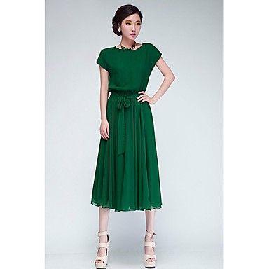 blues van vrouwen ronde hals effen kleur batwing mouw jurk – EUR € 9.99