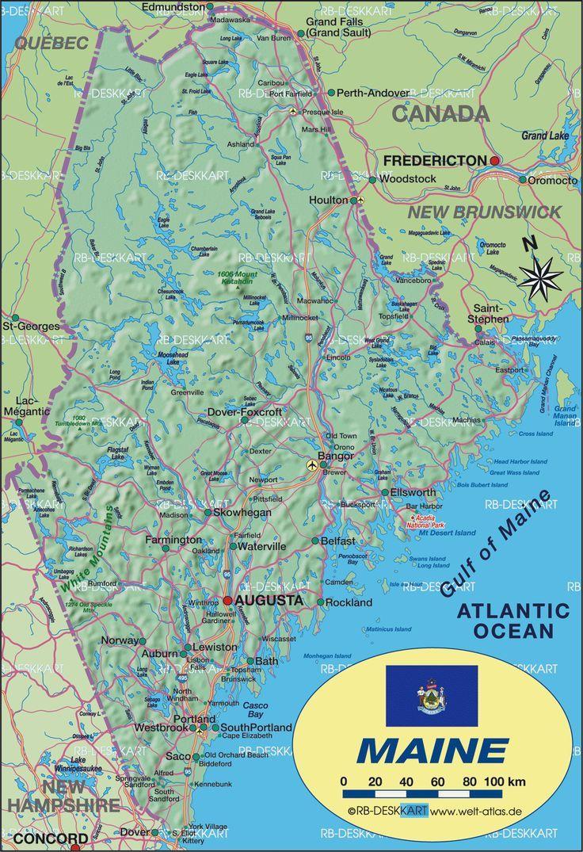 Azoren Karte Weltatlas.Karte Von Maine Vereinigte Staaten Usa Karte Maine Staaten