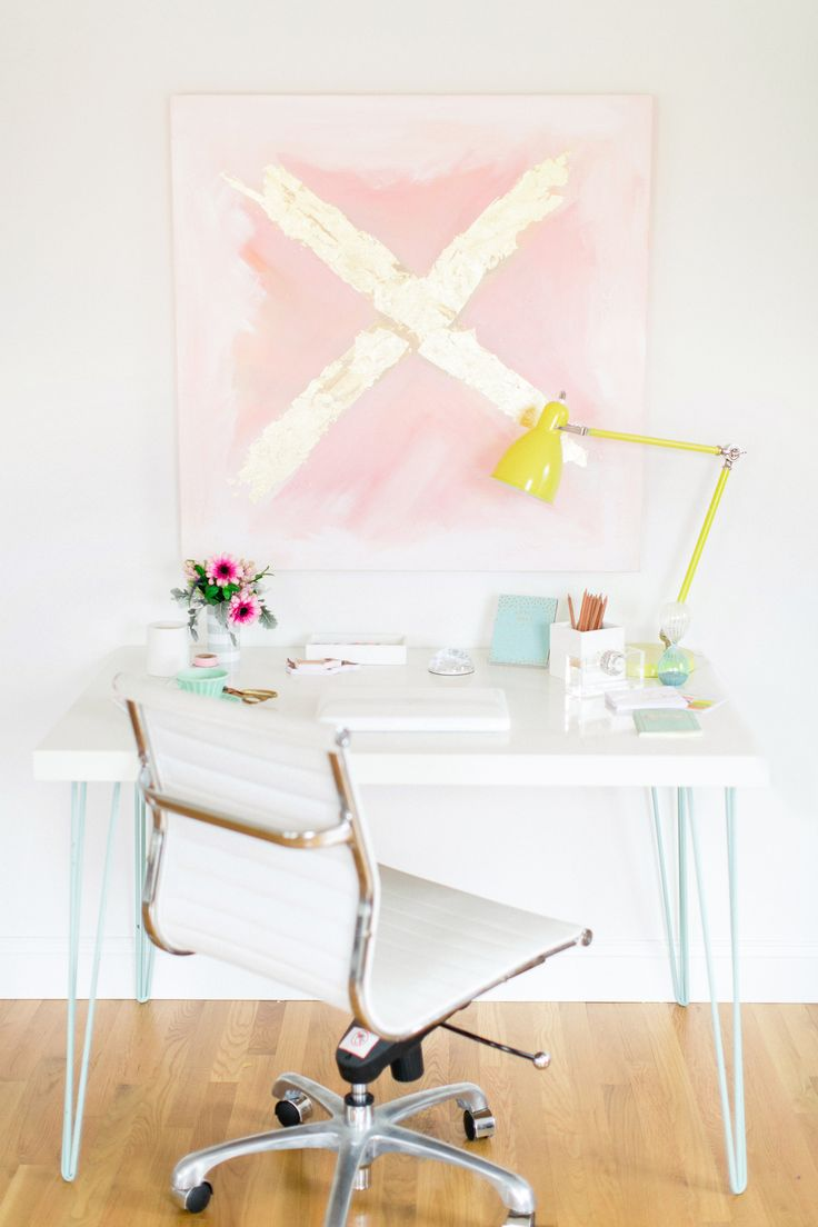#diy, #modern, #desk, #abstract-art, #desk-lamp, #artwork, #office-chair, #gold-leaf  Photography: Ruth Eileen - rutheileenphotography.com  View entire slideshow: Chic Work Spaces on http://www.stylemepretty.com/collection/1116/
