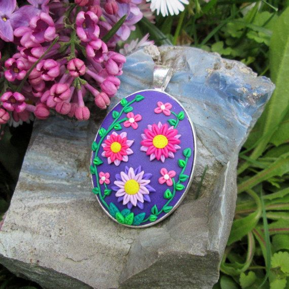 polymer clay jewelry colorful statement fashion style gifft for her christmas by FloralFantasyDreams