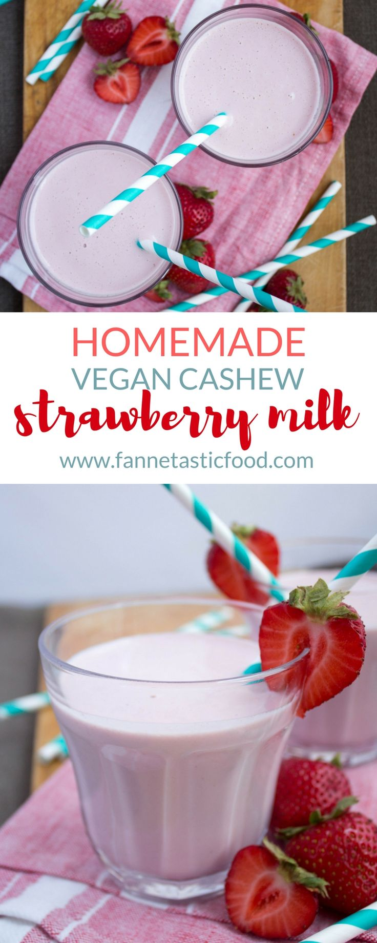Homemade Strawberry Milk - making homemade vegan cashew milk is surprisingly easy! Blend it with strawberries for a creamy, rich, healthy, and tasty homemade strawberry milk that your kids will love!