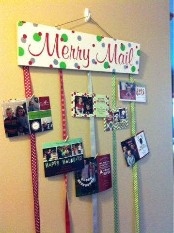 DIY Merry Mail Greeting Card Holder. Cute! I've been looking for a way to display my Christmas cards :)