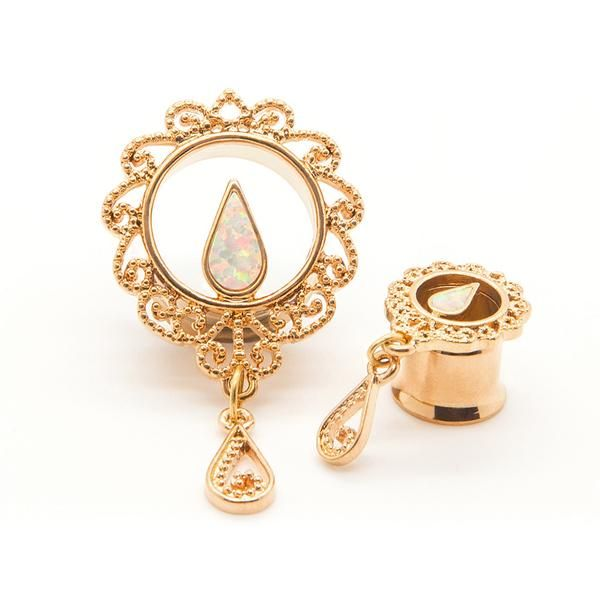 Gold & Opal Tunnel - Custom Plugs - Best Ear Gauges, Flesh Tunnels For Stretched Ears - Steel Plugs - 1