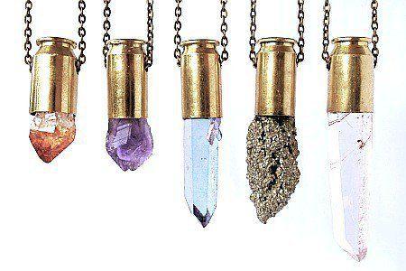 PYTHIA rutilated quartz crystal bullet necklace on Wanelo