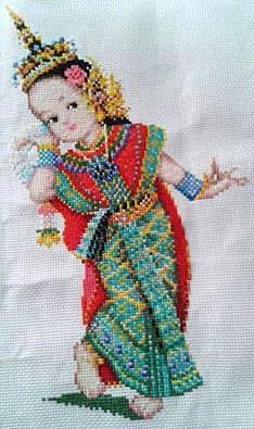 Finished handmade cross stitch /Thai Dancer