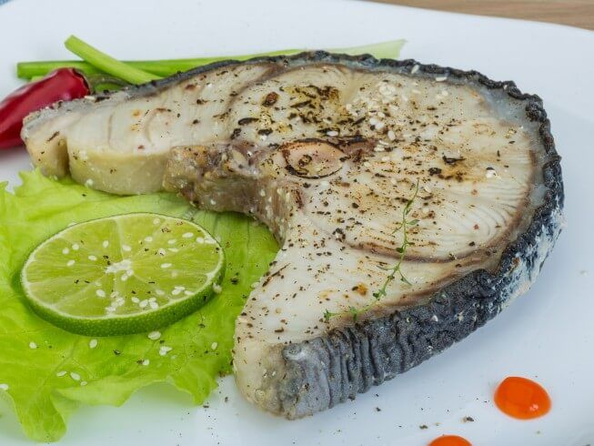 A 5-star recipe for Mako Shark Steaks In Herb Butter made with shark steaks, garlic, onion, lemon or lime, butter, marjoram, seafood seasonings, thyme