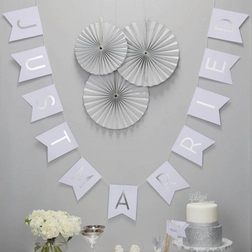 Just Married Silver Foil Bunting By Ginger Ray