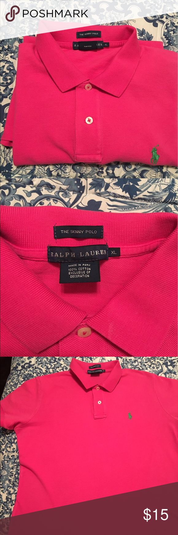 Ralph Lauren Ladies Skinny Fit Polo, Pink Size XL Gently used, pink skinny slim fit, size XL-I wear an 8-10 but these run very small - Ralph Lauren Factory Store Ralph Lauren Tops