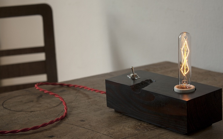 selfmade wooden block lamp; simple toggle switch, porcelain socket ...