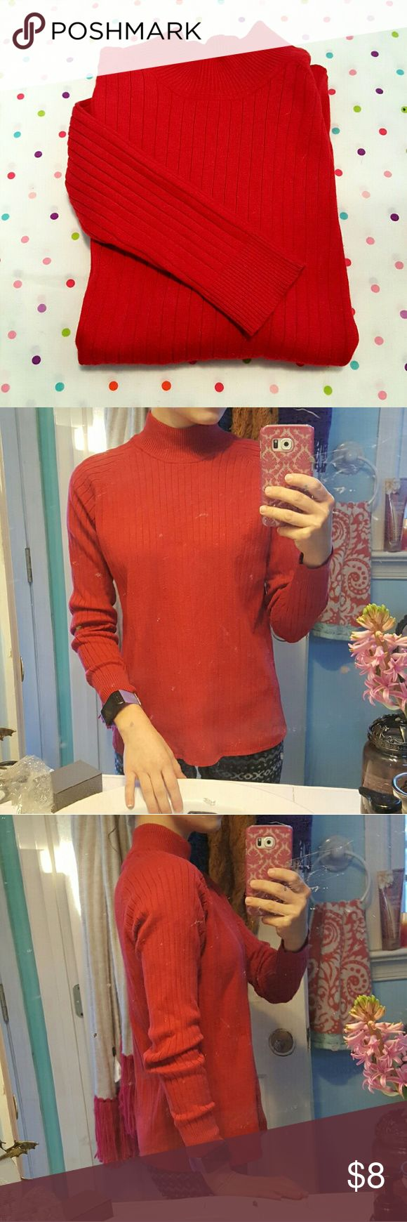Mock Turtle Neck Red.  Mock Turtle neck.  Size medium.  Modeled on a size small. (a bit big on me so I would say it's a true medium.) White Stag Tops