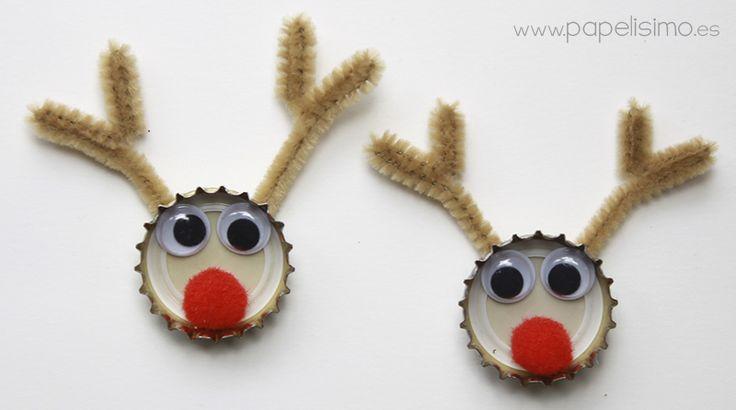 Manualidades para Navidad con material reciclado: Reno de Navidad con chapas de refrescos Esta es una de esas manualidades navideñas para niños,tan divertida que le ...