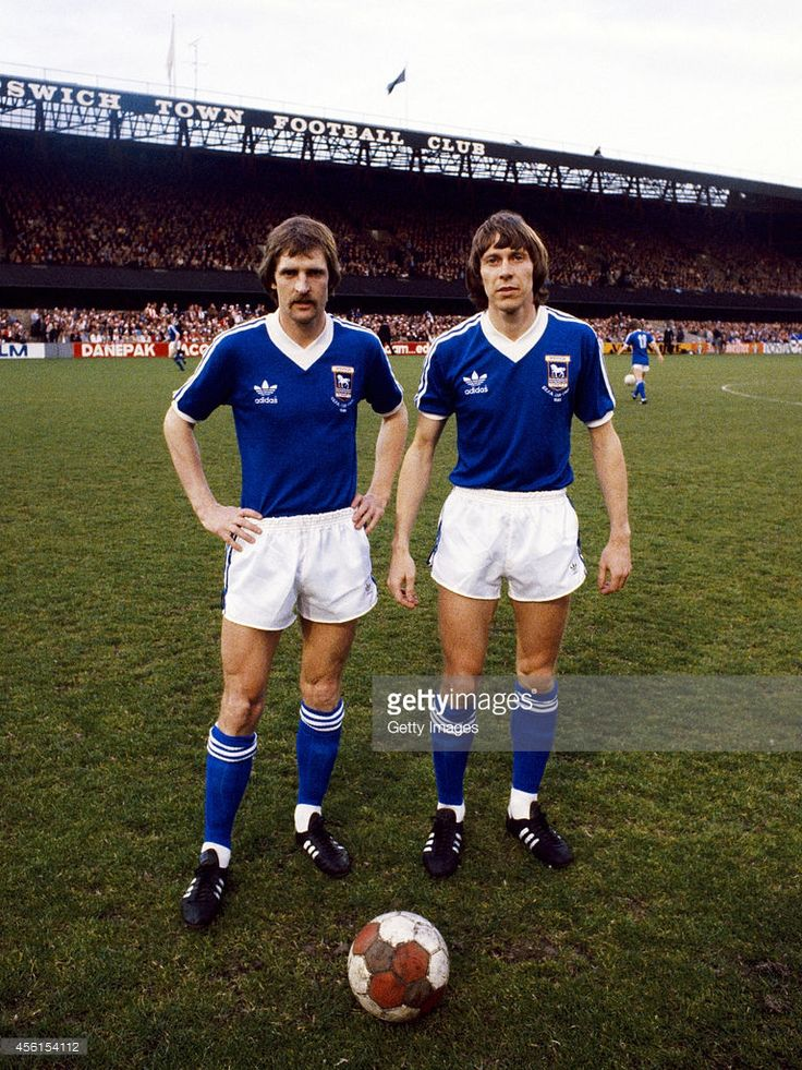 6th May 1981. Ipswich Town's Dutch International players Frans Thijssen and Arnold Muhren posing during the warm up before the UEFA Cup Final first leg between Ipswich Town and AZ 67 Alkmaar at Portman Road..