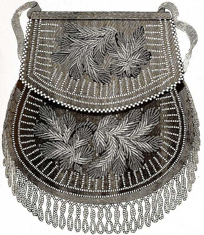 "Niagara Style beadwork illustration from British publication ""The Ladies Newspaper,"" 1859"