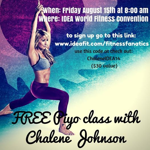 WANT TO TAKE A PIYO CLASS WITH ME? Guess what!? I will be teaching a PiYo class at the IDEA World Fitness Convention this Friday at 8:00 am….invitation and information in the photo (Link to where to sign up)! I'd love for you to join! You do not have to be an attendee of the convention to come and take the class. #piyo www.ideafit.com/fitnessfanatics  Please share this with anyone who you think would want to join you & share my FREE diet ebook and workouts at www.cj7day.com