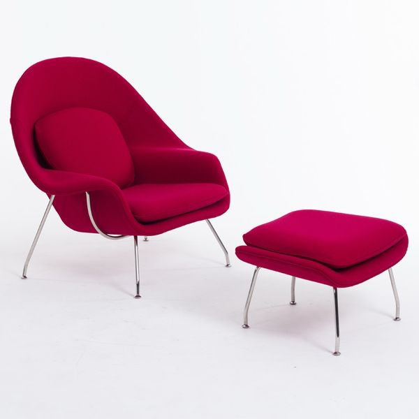 Saarinen Womb Chair & Ottoman (Vermillion Red)