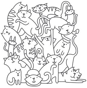 Go cat crazy with this design! Adorable kitties pile up and play. Downloads as a PDF. Use pattern transfer paper to trace design for hand-stitching.