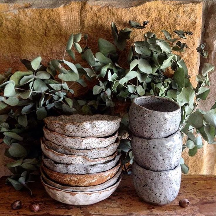 Rustic bowls and cups, Barakee Pottery
