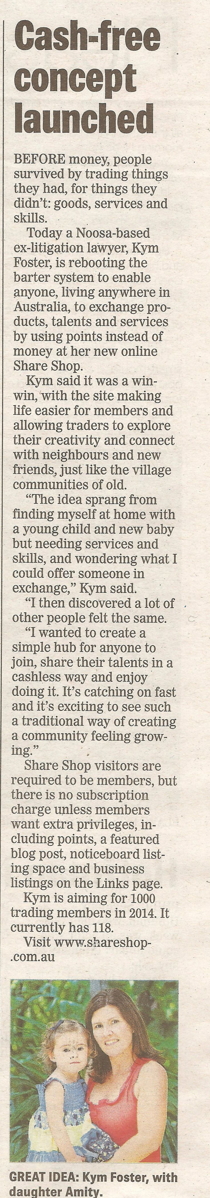 """""""Cash-free concept launched"""" - Share Shop in the Sunshine Coast Daily 11/2/2014"""