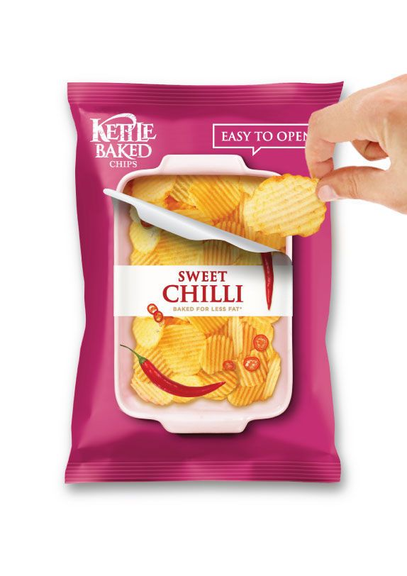 """""""open a bag of chips"""" - When potato chip packaging requires that you open a bag of chips the usual from the top, this means that there are fewer chips that can be included..."""
